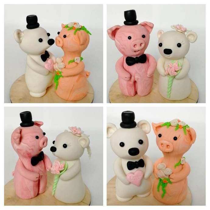 Pig Bear cake topper Wedding Animal clay cake topper Cute Wedding cake decor