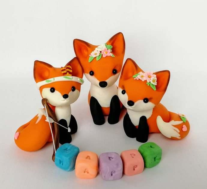 Fox cake topper Birthday Clay fox figurine Woodland cake topper Baby shower