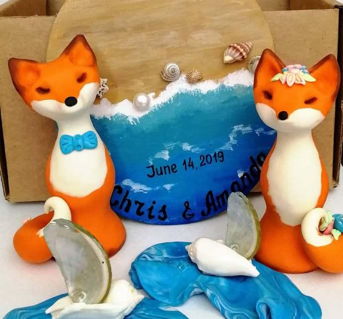 Fox cake topper Beach Wedding Sunflowers & Seashells Woodland Animal cake topper
