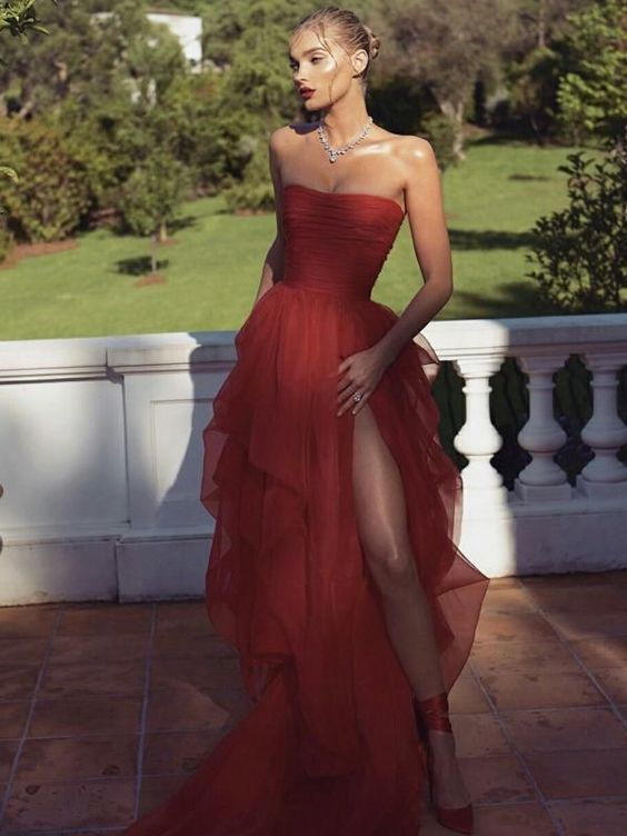 Sexy red high slit strapless dress,party dress,red evening dress ML291