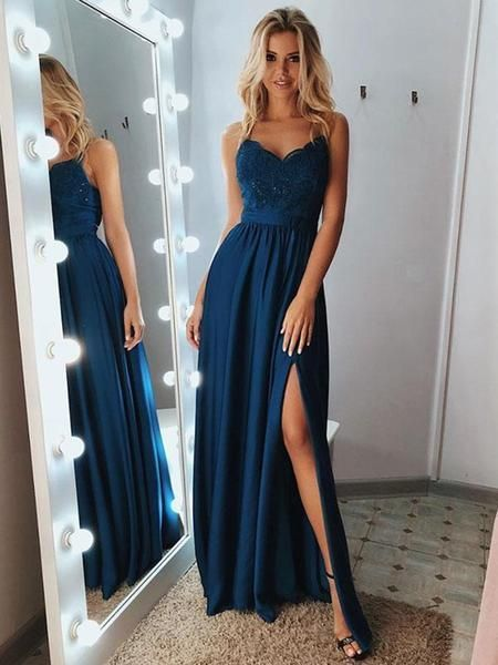A Line Sweetheart Neck Backless Lace Blue Prom | Moonlight - Hair Beauty