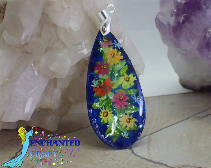 Lovely handpainted Flower garden with Honey Bees wood pendant resin coat on both