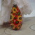 cheerful handpainted sunny sunflowers wood pendant resin coat on both sides red