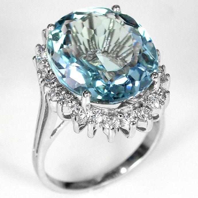 925 Silver Aquamarine Gemstone - Size 9 - (S)