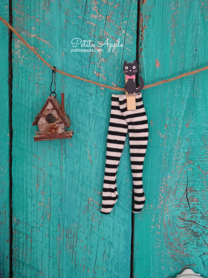 Black and white striped socks for Blythe doll pure neemo body