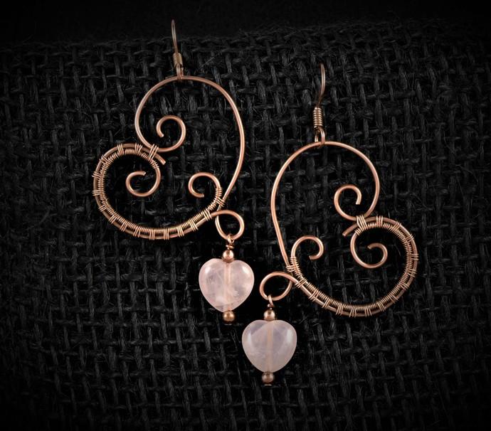 Rose Quartz Heart Dangle Earrings; Wire Wrapped Woven Earrings (E102)
