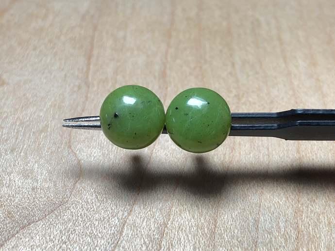 10mm Green Jade Gemstone Post Earrings with Sterling Silver