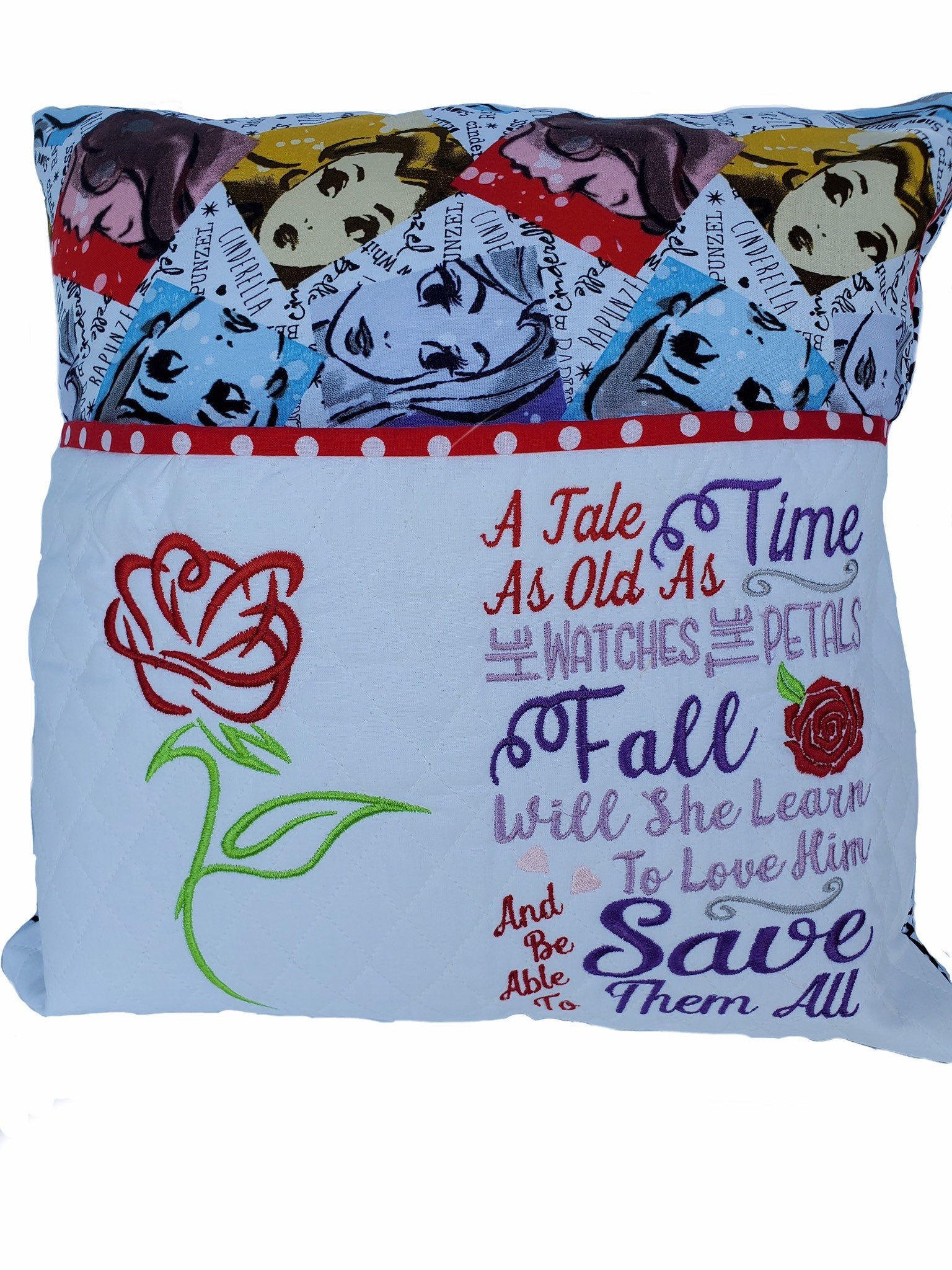 Beauty and the Beast  Inspired Reading Pocket Pillow PocketReadingStorage pillow ,Book Lover gift Belle Princess Pillow Disney Decor