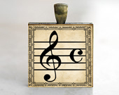 Music Lovers Pendant, G Clef