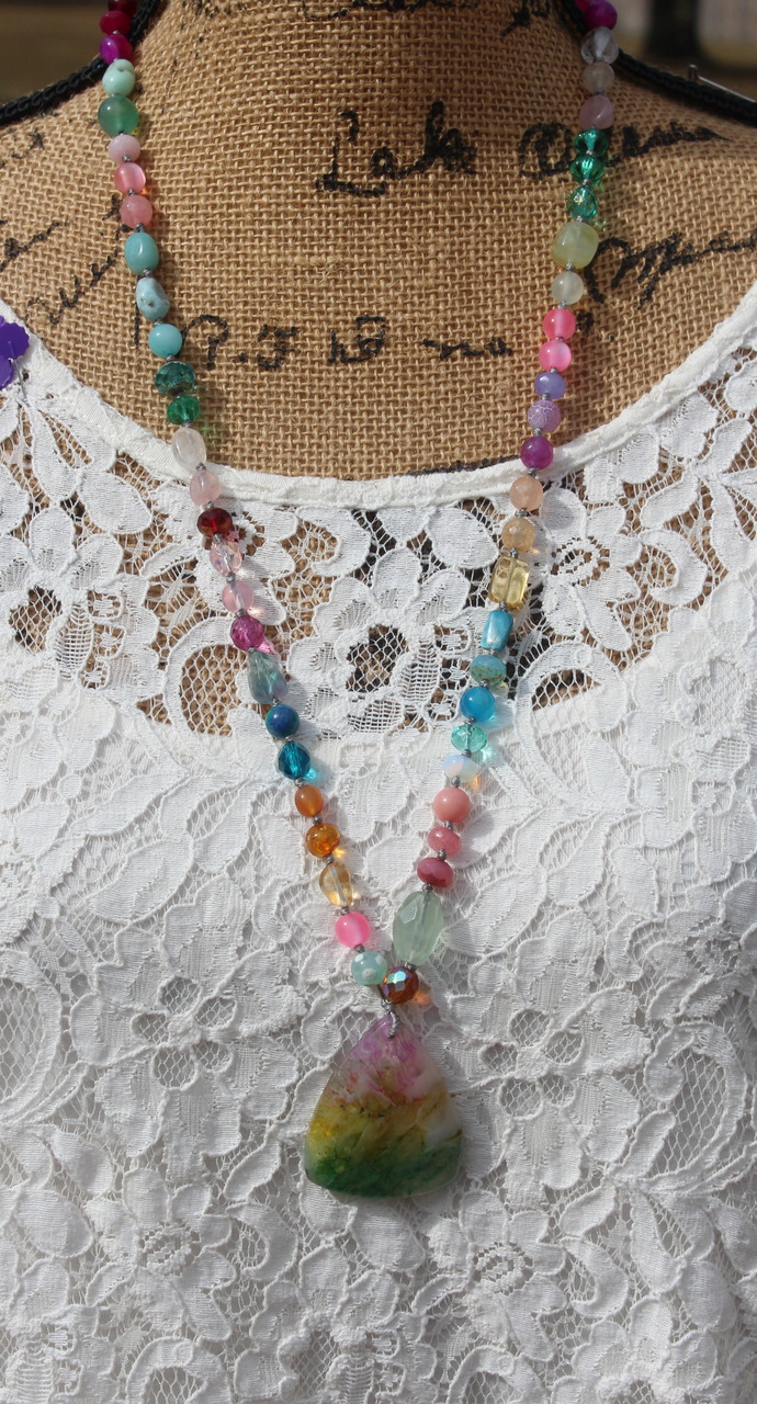 The Flower Garden Long Beaded Necklace with Pendant Quartz Crystal Jewelry by