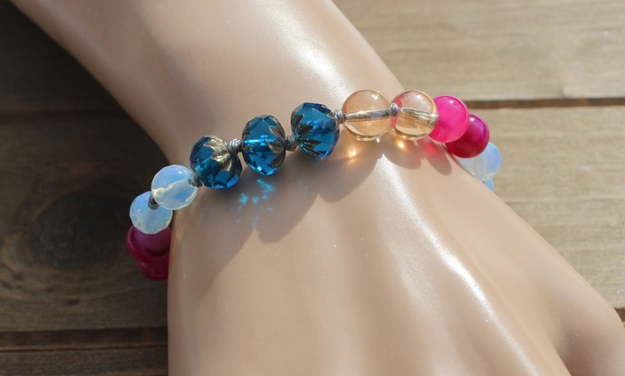 Beaded Heart charm Bracelet Colorful Jewelry by Knottedupjewelry