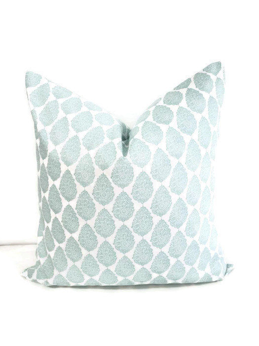 Canal Blue and white Pillow cover. Jersey print pillow cover. Blue Sham cover.