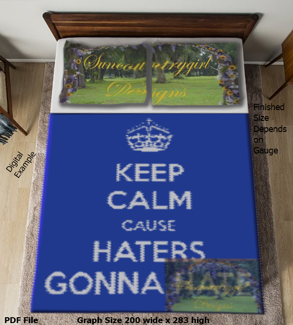 Keep Calm - Haters Gonna Hate graph, 200 x 213 crochet graphghan pattern