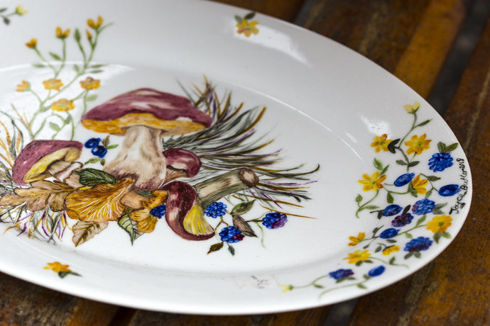 Hand Painted Platter With Wild Mushrooms And Blue And Yellow Flowers, Porcelain