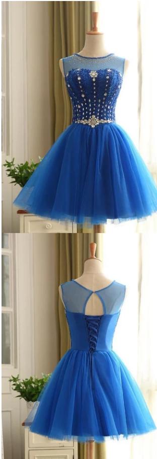 Royal Blue Short Beading Open Back Homecoming Dress,372