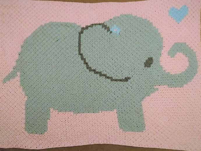 Baby Elephant Love Crochet Pattern C2C PDF Graph Girl Pink Blanket Afghan