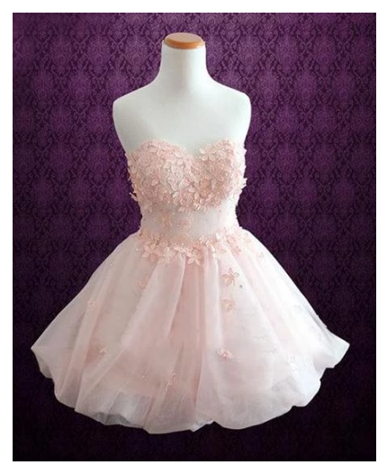 Pink Strapless Sweetheart Homecoming Dresses Appliques Cocktail Dresses,375