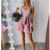 Pink v neck lace short prom dress, cute homecoming dress,376