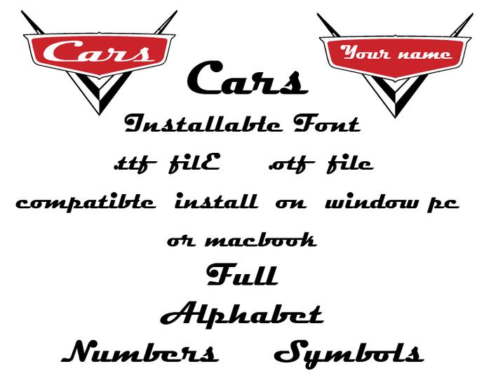 Disney Pixar Cars font file .ttf font true type font installable on PC Mac