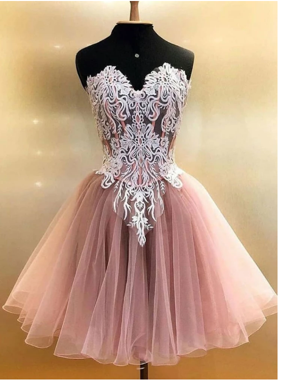 Pink tulle lace short prom dress, homecoming dress,377