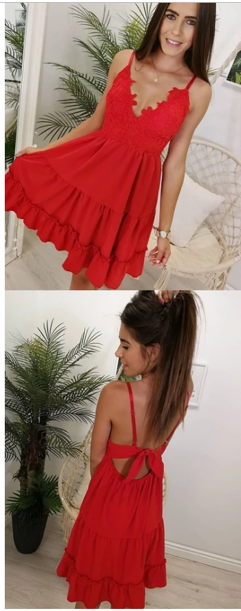 Princess Cute Mini Red Prom Dress, Sexy Red Cocktail Dress with Straps,380