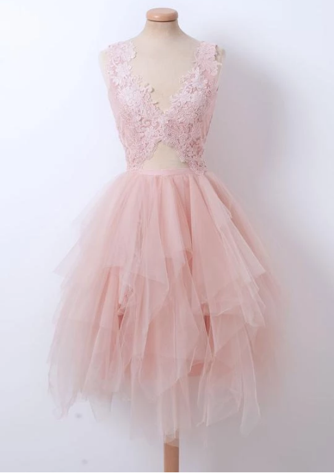 Pink V Neck A Line Homecoming Dresses Sleeveless Lace Prom Dresses,381