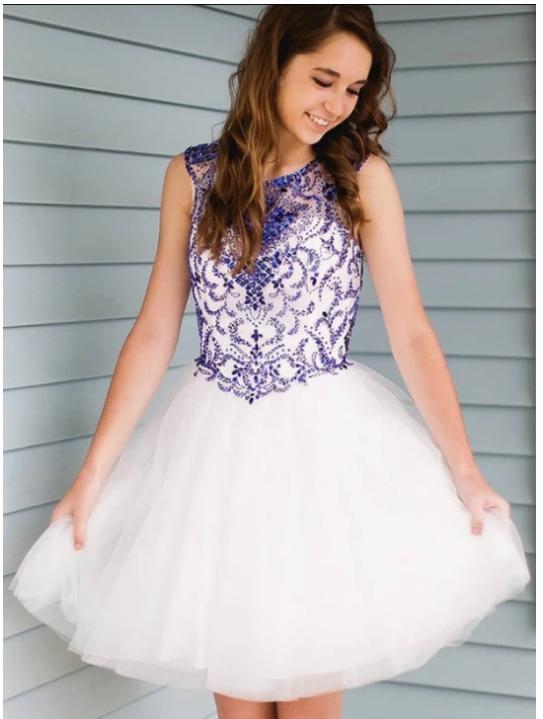 Scoop Neck Sleeveless Beaded Homecoming Dresses Short Cocktail Dresses,383