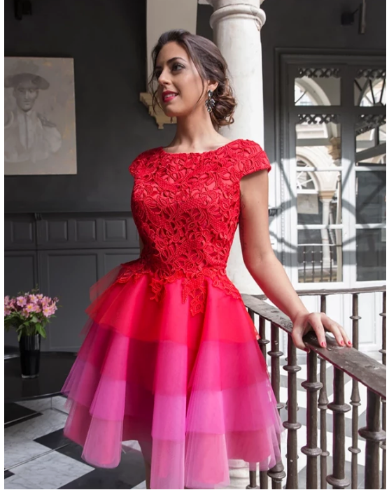 Red A-line Scoop Homecoming Dress Tulle Short Prom Drsess,387
