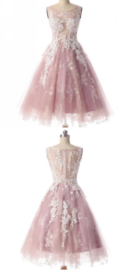 Short A-Line Tulle Lace Applique Homecoming Dress Featuring Scoop Neck
