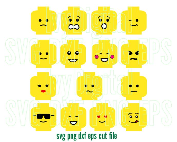 SVG Lego Face Emoji Icon svg Smiley Sad Angry Calm Cool clipart Shirt Decor