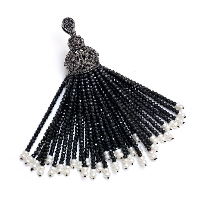 925 Sterling Silver Swing Black Spinel Freshwater Pearl Tassel Jewelry Pendant