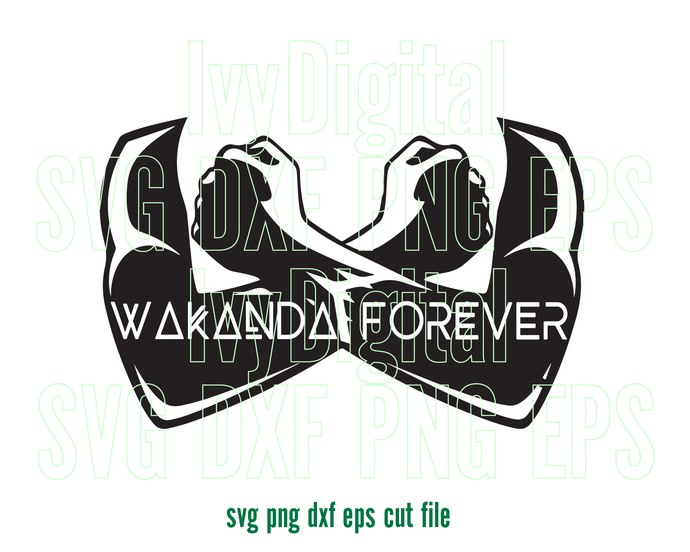 Marvel Black Panther SVG Wakanda Forever Hand Arm Sign clipart Silhouette