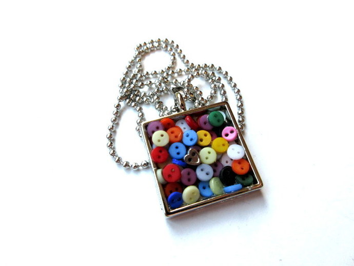 Square Button Pendant All About The Buttons Necklace