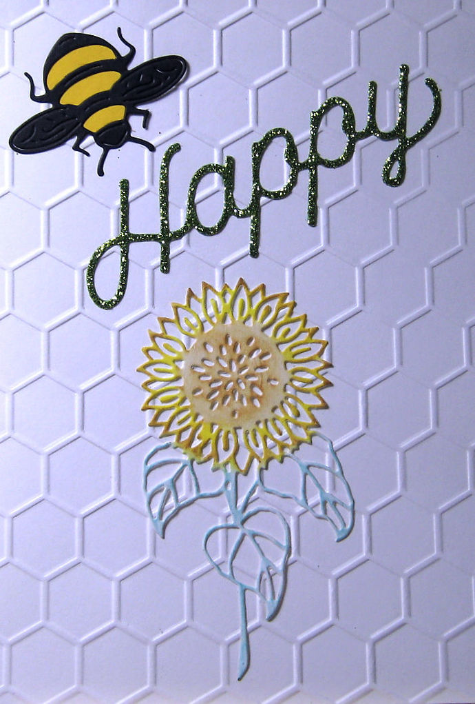 3pc Bee Happy and Flower Die Set