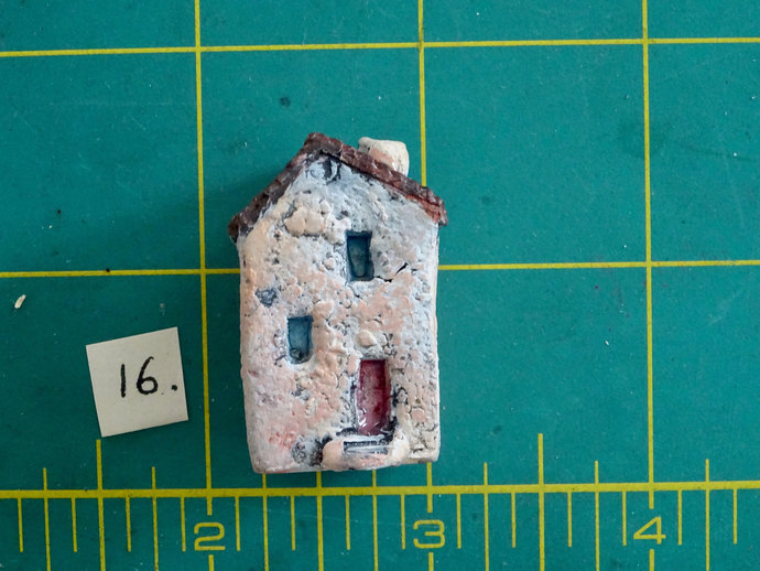 Miniature old house with stairs- OOAK ceramic mini handmade sculpture #16/2019