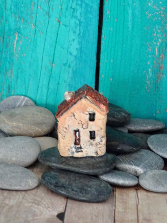 Miniature old house with stairs- OOAK ceramic mini handmade sculpture #14/2019