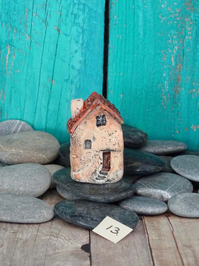 Miniature old house with stairs- OOAK ceramic mini handmade sculpture #13/2019