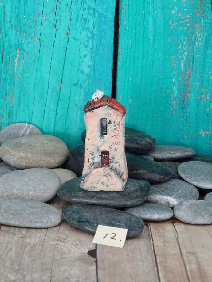 Miniature old house with stairs- OOAK ceramic mini handmade sculpture #12/2019