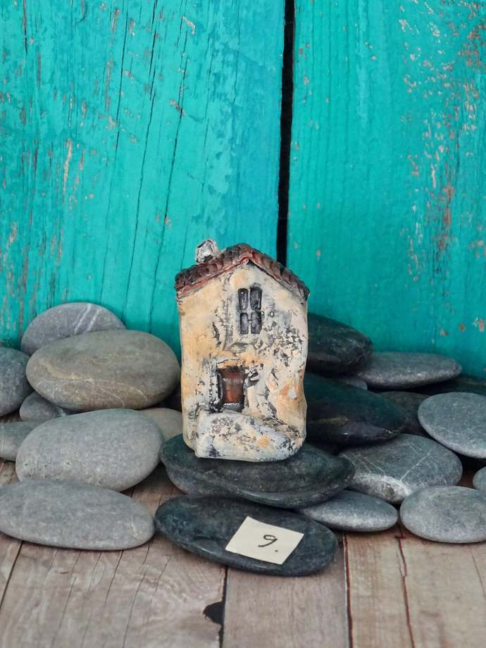 Miniature old house with stairs- OOAK ceramic mini handmade sculpture #9/2019