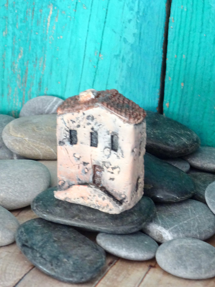 Miniature old house with stairs- OOAK ceramic mini handmade sculpture #8/2019