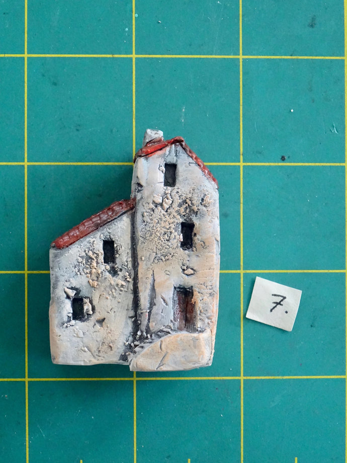 Miniature old house with stairs- OOAK ceramic mini handmade sculpture #7/2019