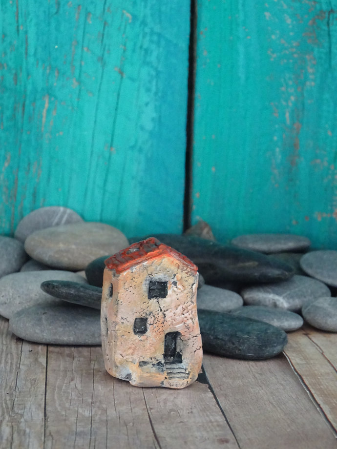Miniature old house with stairs- OOAK ceramic mini handmade sculpture #6/2019