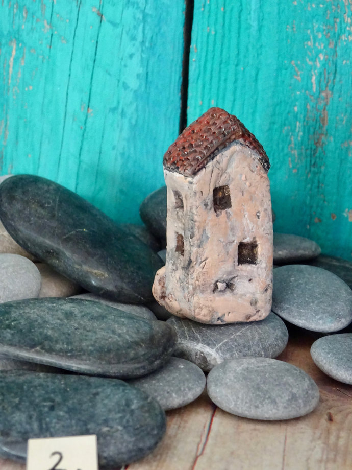 Miniature old house with stairs- OOAK ceramic mini handmade sculpture #2/2019