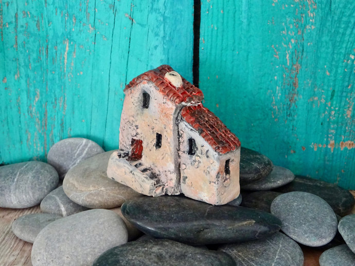 Miniature old house with stairs- OOAK ceramic mini handmade sculpture #1/2019
