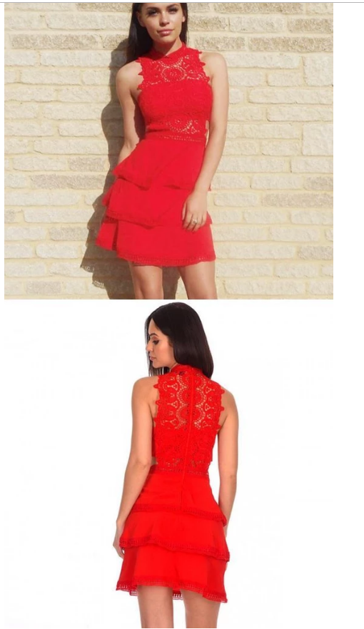Sheath Jewel Tiered Red Homecoming Dress with Lace ,405