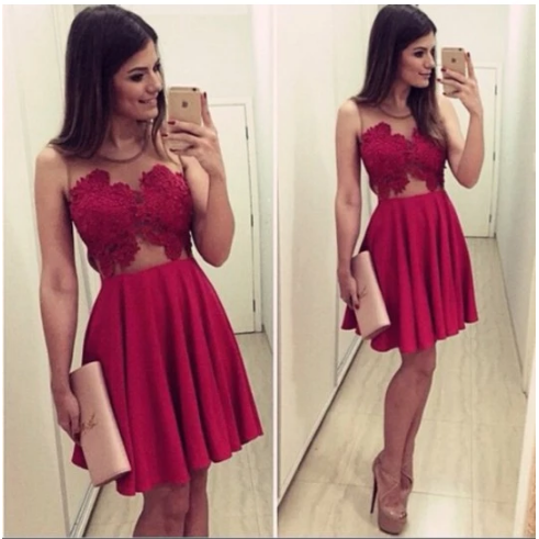 Sexy, Red, Lace, Short dresses, homecoming dresses,409