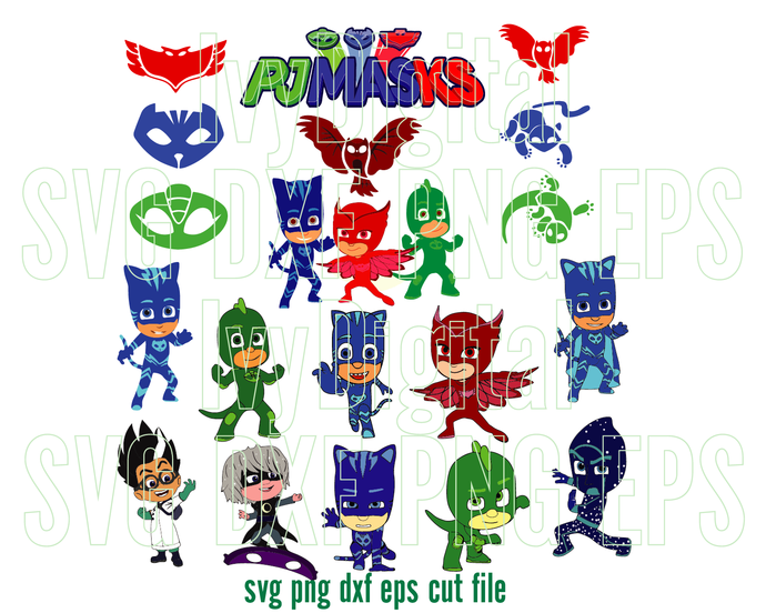 Pj Masks SVG Pj Masks Birthday Shirt pj masks Invitation Card pj masks clipart
