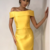 Sexy Sheath Off Shoulder Yellow Cheap Homecoming Dresses,413