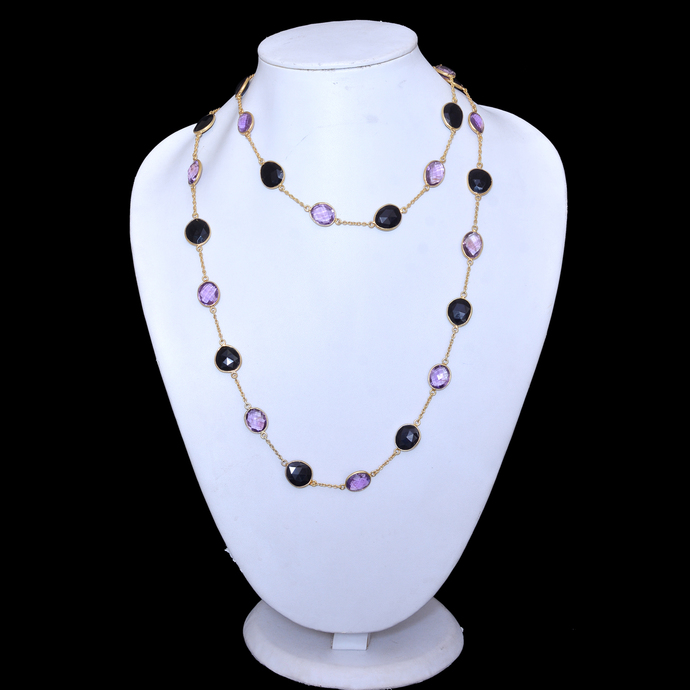 925 Sterling Silver  Amethyst Black Onyx Multi Color Chain Jewelry necklace