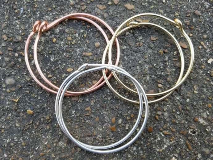 12 Gauge 2 Inch Hoop Earrings, Sterling Silver Hoops, Copper Hoops, Brass Hoops,